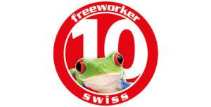 Le logo des 10 ans de Freeworker Swiss - Votre magasin à Romanel